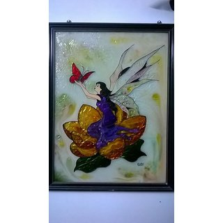 Handmade Beautiful  Well framed glass painting