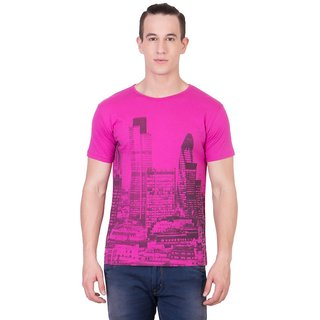 Cliths Mens Pink Cotton Printed T-Shirt HS-119-Pink