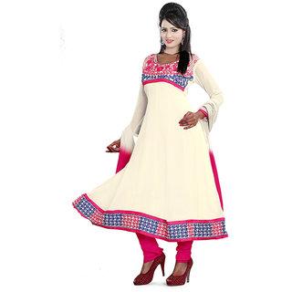 Parinaaz White Faux Georgette Unstitched Dress Material