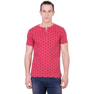 Cliths Mens Red Cotton Printed T-Shirt HS-131-Red