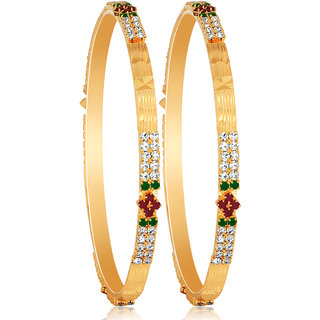 Spargz Ethnic Design Gold Plated Bangle Pair AIB 041
