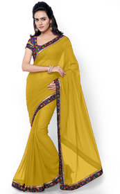 Aaina Yellow Georgette Embroidered Saree with Blouse (FL-11781)