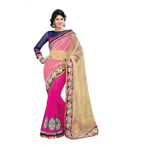 Strawberry Fizz Designer Net Brasso Saree With Unstitched Blouse
