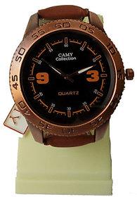 Formal Mens Black Dial Brown Strap Wrist Watch For Men