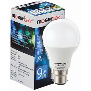 Moserbaer 9W Led Bulb (Cool White) Pin Type