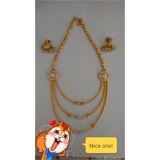 Homemade Gold Cristal Step Necklase with stylish jimiki.