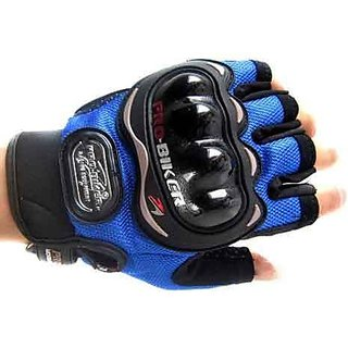 Pro-Biker Motorcycle Riding Blue Gloves Half Finger Size XL.