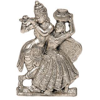 Lord Radha Krishna Antique White Metal Idol 311