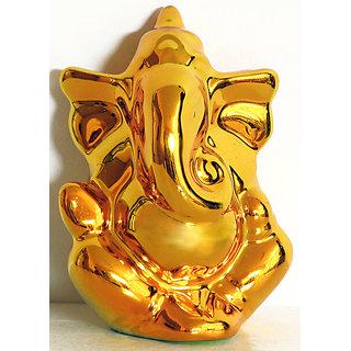 Gold Plain Ganesh Idol