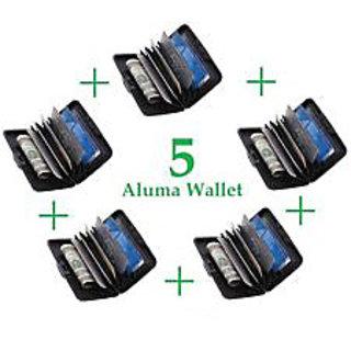 SET OF FIVE - Aluma Wallet - Credit Card Security ATM Money Holder Unisex Purse