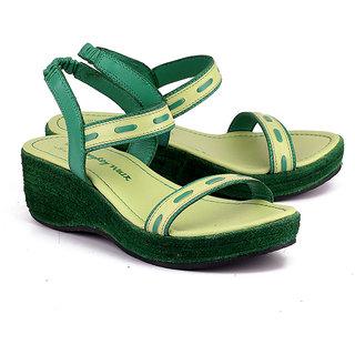 NAUGHTY WALK-712 LIME GREEN WEDGES
