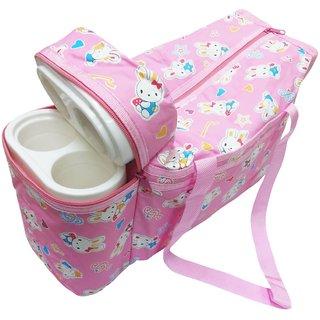 Wonderkids Pink Bunny Print Baby Diaper Bag