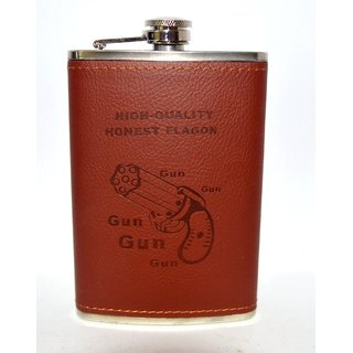Hip Flask Honest Gun Leather (8 oz)