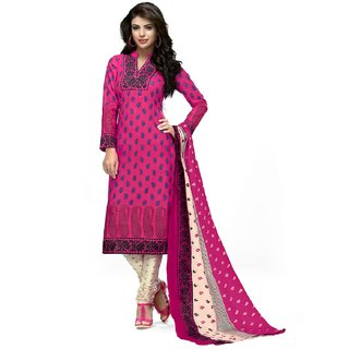 AminQuest Cotton Pink Color Printed Dress Material (Un-stitched)
