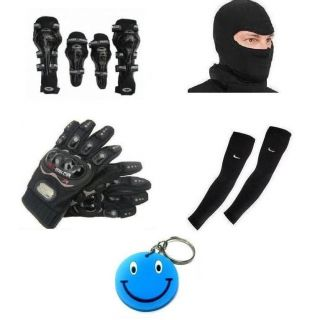 Combo Of Axo ElbowKnee Guard+Gloves+Face Mask+Arm Sleeves Free Smiley Key Chain