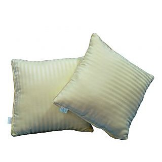 Just Linen Pair Of Ready To Use Sateen Lemon Chiffon Stripe Small Size Cushions
