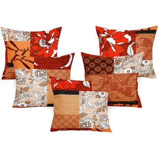 DIVINE CASA 100 Cotton Set Of 5 Cushion CoversCUSHION114