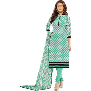 Lovely Look Green  White Embroidered Un Stitched Straight Suit LLK9DRM53