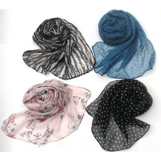 (Set of four )Letz Dezine Poly Cotton multi color casual wear scarves for women