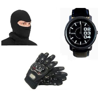 Combo Of Universal Full Face Mask+Fusion Watch+Riding Gloves Black Size XL
