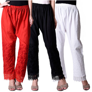 NumBrave Red, Black  White Cotton EMBROIDERED PLAZZO Combo of 3
