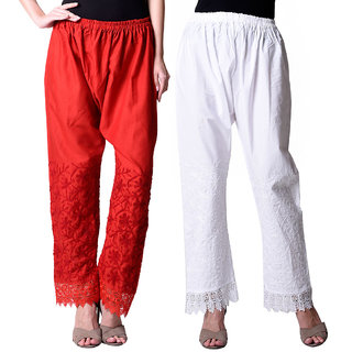 NumBrave Red  White Cotton EMBROIDERED PLAZZO Combo of 2