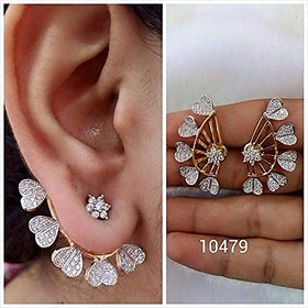 Bandish Gold Plated Gold  White Alloy Cuff Earrings for Women