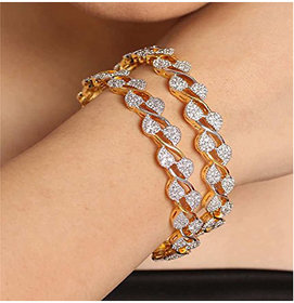 Bandish American Diamond Gold toned Bangle Set for Women