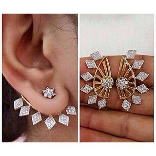 Bandish Gold Toned American Diamond Ear Cuff Earrings For Women