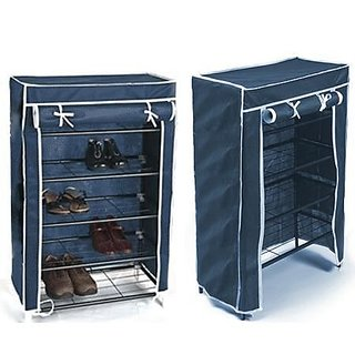 Portable Folding 4 To 5 Layer Tier Shoe Rack With Wardrobe Cover