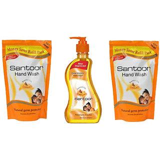 Wipro Santoor Hand Wash 250ml+180ml+180ml (Refill Pack)