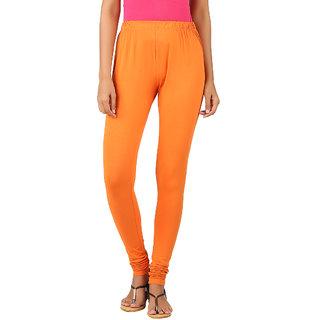 Newrie Womens Cotton Elastane Orange Churidar Leggings