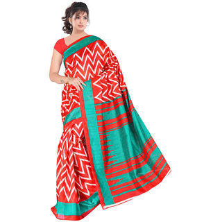 Lovely Look Red  Sea Green Printed Saree LLKGPS5209