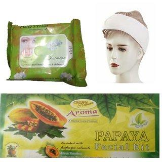 Combo of Wet Wipes + Facial Papaya Kit + Facial Band