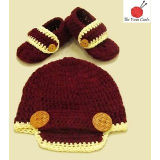 Crochet Brimmed Hat/ Beanie and Matching Booties With Buttons for BOYS