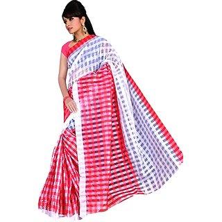 SVB Red Cotton Block Print Saree With Blouse
