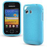 Skyblue Glittery Soft Silicone Gel Skin Case For Samsung Galaxy Y S5360