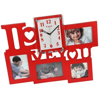 Buy Aicas Wall Hanging Red Combo Of Photoframe And Analog Wall Clock