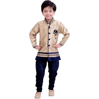 Boys Sherwani Kurta Pyjama Kids Wear - Full Sleeves - Party Wear - Beige Blue