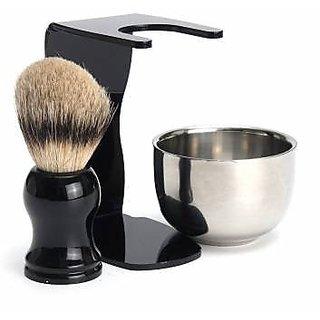 3 in 1 Mens Shaving Kits Badger Hair Brush + Stand + Stainless Steel Bowl  Set