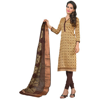 Varanga Beige Silk Embroidered Salwar Suit Dress Material (Unstitched)