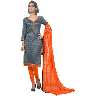 Varanga Gray Silk Embroidered Salwar Suit Dress Material (Unstitched)