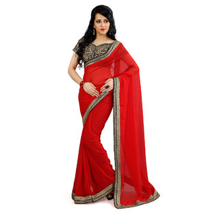 Florence Red Silk Jacquard Embroidered Saree (FL-10433)