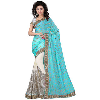 Vastrani Green & Cream Viscose Embroidered Saree With Blouse