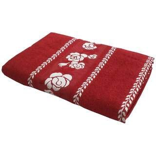 Lushomes Super Absorbent Cotton Red Bath Towel with Jacquard Border for Men, 400 GSM