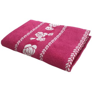 Lushomes Super Absorbent Cotton Pink Bath Towel with Jacquard Border for Men, 400 GSM