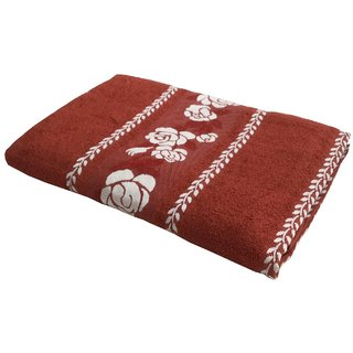 Lushomes Super Absorbent Cotton Rust Bath Towel with Jacquard Border for Men, 400 GSM