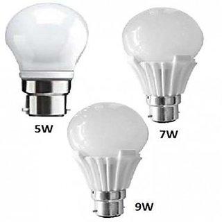 Combo of 5W, 7W, 9W Led Bulbs(Set of 3 Bulbs)