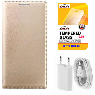 Exclusive Golden Leather Flip Cover for Lenovo Vibe K5 Plus with Tempered Glass and USB Travel Charger