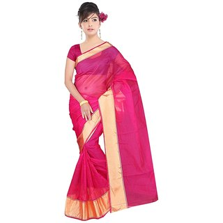 Stylife Designer Silky Pink Saree with Golden Border